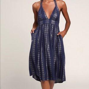 Lulus Charlize Navy Blue Striped Halter Midi Dress